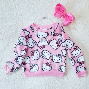 Girls Hello Kitty Fleece Pink Sweater